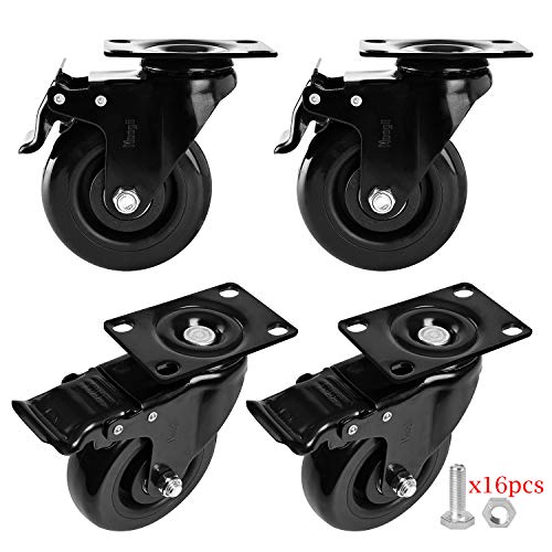Moogiitools 3' PVC Heavy Duty 1000lbs Swivel Rubber Caster Wheels with Safety Dual Locking Casters Set of 4 with Brake
