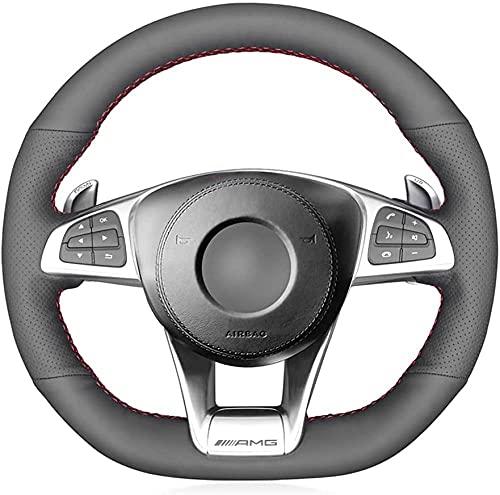 Funda de piel negra para volante de coche, para Mercedes Benz AMG...
