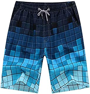 259e399487 Mosaic Print Men's Summer Beach Pants Quick Dry Swim Trunks Blue L
