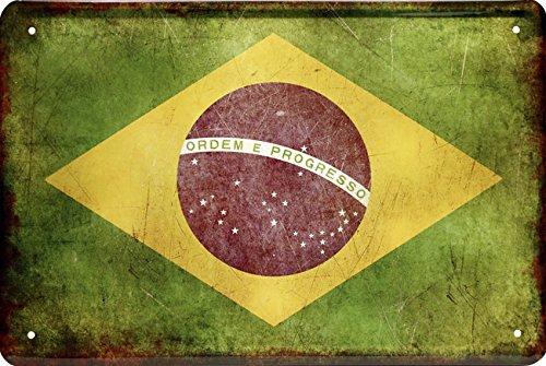 Länder Fahne Nationen National Flagge Brasilien Brazil 20x30 Blechschild 1437