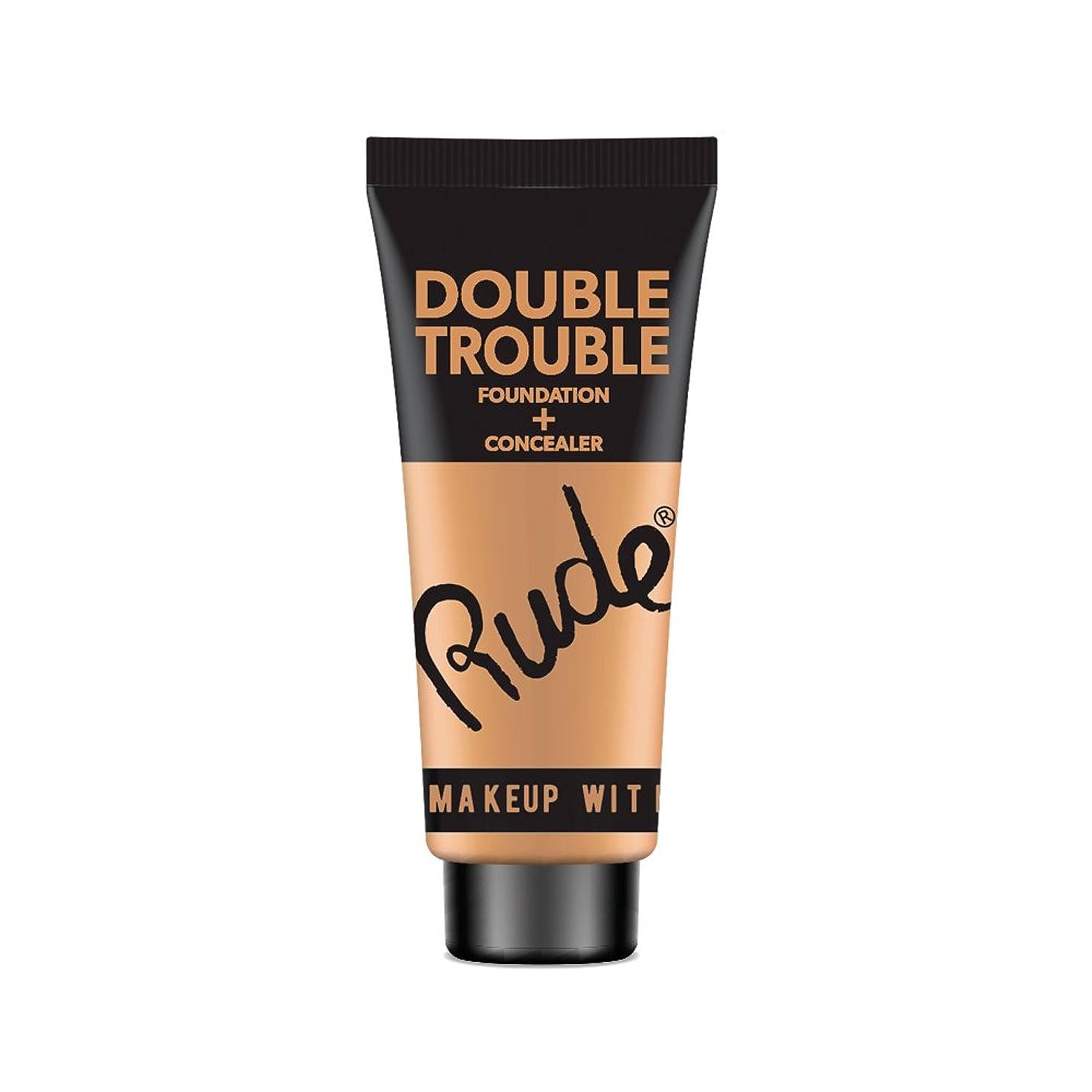 図焼くマイクロRUDE Double Trouble Foundation + Concealer - Cocoa (並行輸入品)