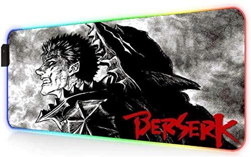 Berserk Manga RGB Alfombrilla de Ratón Alfombra Anime Led Pc Gamer Escritorio con Retroiluminación Teclado 900X400X4 mm