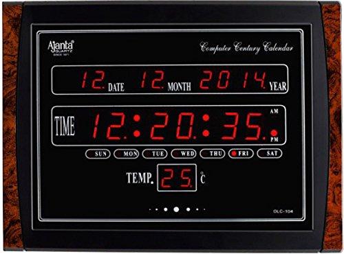 Elica Plastic Ajanta Quartz Digital Red LED Rectangle Wall Clock (Black, 39.6 cm x 29.6 cm x 3.5 cm)