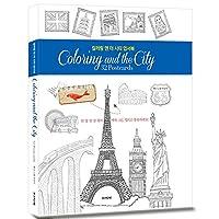 ' Coloring and the City '大人用カラーリングブックDIYひな形カードセットwith 32デザインカラーリングひな形ノートカードはがき、Hand Drawn Hand Written Greeting Card