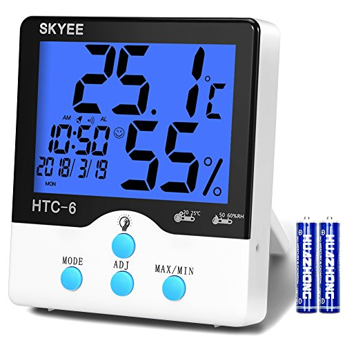 SKYEE Digital Thermometer Hygrometer Innen mit Digitaluhr Wecker Digital, Luftüberwachung Temperatur und Humidor mit Hintergrundbeleuchtung, Datum für Schlafzimmer, Büro, Wohnzimmer, usw