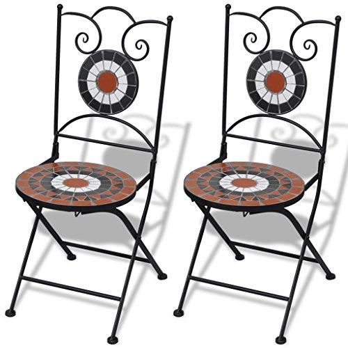 Anself Mosaikstuhl Klappstuhl Gartenstuhl Terrakotta und Weiß 2er Set