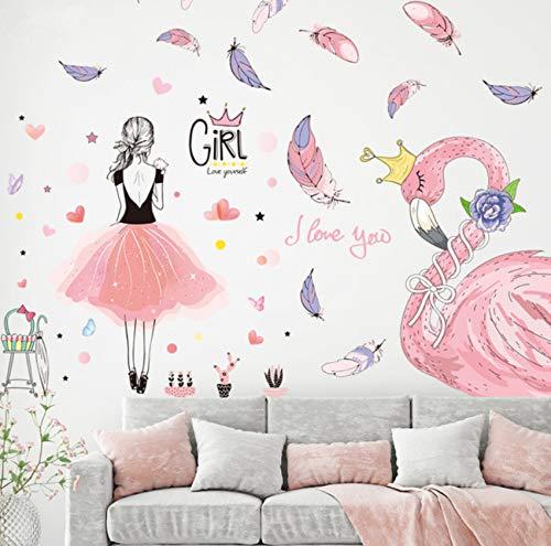 Lvabc Fille Stickers Muraux Vinyle DIY Bande Dessinée Flamingo Animal Art Mural Pour Enfants Chambres Maternelle Bébé Chambre Décoration