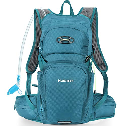 KUSTAR Hydration Pack Backpack with 2L Leakproof Water Bladder BPA Free,Lightweight Water Backpack for Hiking,Running,Cycling,Camping (Malachite Green)