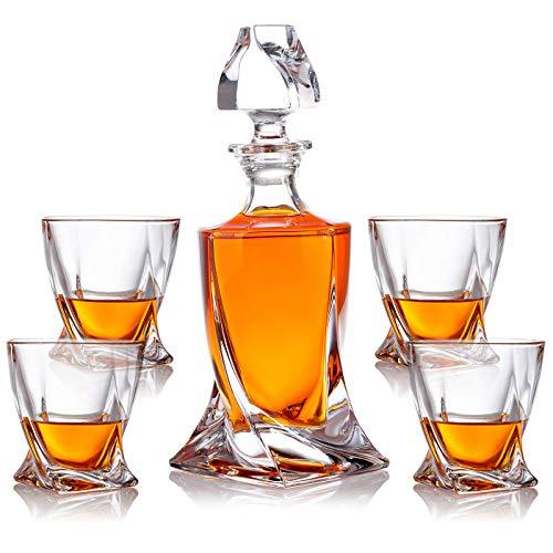 polar-effekt 5-TLG Whisky-Set Karaffe Trinkgläser - Geschenk-Set aus Glas - Whiskey Dekanter 800ml mit 4 Whiskygläser 300ml für Rum, Scotch, Cognac - Männer Geschenk - mit Geschenkbox