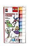 Marabu 030600000100 Kids Window Color Set de 10 x 25 ml de peinture et modèle de coloriage A4 avec 18 motifs, peinture pour fenêtre à base d'eau, convient pour verre, miroir, carrelage et film