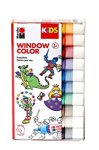 Marabu 0306000000100 - Kids Window Color Set mit 10 x 25 ml Farbe und Malvorlage A4 mit 18 Motiven, Fenstermalfarbe auf Wasserbasis, geeignet für Glas, Spiegel, Fliesen und Folie