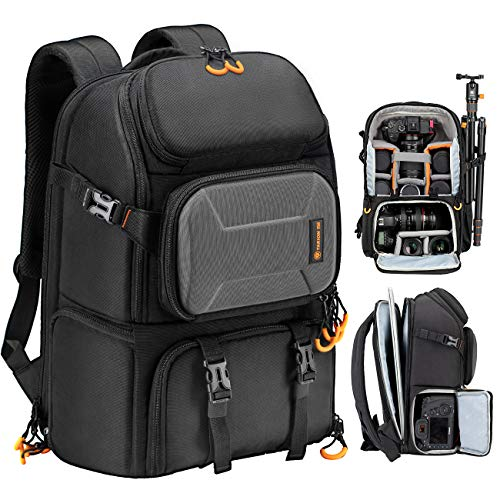TARION Pro Camera Backpack Large Camera Bag with Laptop Compartment Tripod Holder Waterproof Raincover Outdoor Photography Hiking Travel Professional DSLR Camera Bag Backpack for Men Women Side Access