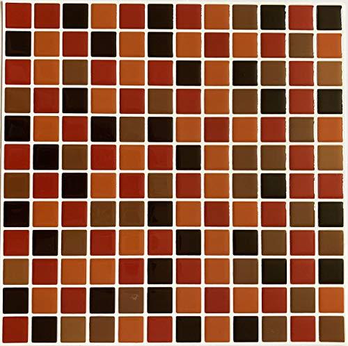 Pegatinas de Pared de Baldosa, Diseño de Mosaico Efecto 3D, Pegatina de Azulejo Auto-Adhesivo Decorativo Impermeable para Cuarto de Baño y Cocina, 25.4x25.4cm, 6 Piezas por paquete (Multicolor DEC881)