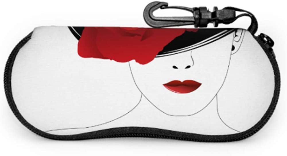 Beautiful Woman In A Black Hat With Red Rose Glasses Cases Girls Sunglasses Case Light Portable Neoprene Zipper Soft Case Soft Eyeglass Cases For Men