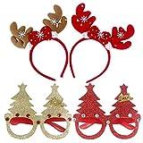 YeahiBaby 4pcs Serre Tete Noel Bois de Renne ET Lunettes Drôle Arbre Noël Cosplay Noel Accessoires Cadeaux pour Enfants Adulte (Style Aléatoire)