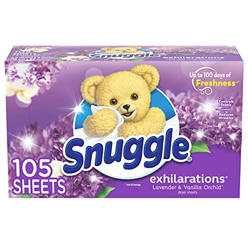 Snuggle Exhilarations Fabric Softener Dryer Sheets, Lavender & Vanilla Orchid, 105 Count