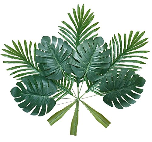 Artificial Palm Leaves with Stem (20 Pcs) Tropical Philodendron Monstera Fronds Party Decorations Faux Palm Tree Plant Leaf Fake Imitation Ferns Branches Home Kitchen Plastic Decor AF49