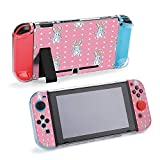 SUPNON Carry Case Compatible with Nintendo Switch, Ultra Slim Hard Shell, Protective Carrying Case for Travel - Cute Rainbow Cartoon Bunny RABIT with Dots Design33662