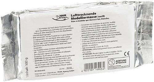 Your Design lufttrocknender Ton: Lufttrocknende Modelliermasse, weiß, 500 g (Selbsttrocknende Modelliermasse)