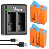 Vemico GoPro Hero 9 Black Battery Charger Kit 2 X 1800mah Rechargeable Batteries 2 Channel LED and Micro-USB Type-C Charger Battery for Gopro Hero 9 Black/AHDBT-901(Fully Compatible with Original)