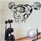UYEDSR Stickers Muraux Sport Musculation Vinyle Stickers muraux Gym Bodybuilder Muscle Homme Poids Stickers muraux pour Centre de Remise en Forme Cool décoration 57x88cm