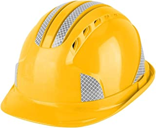Safety Helmets Construction Worker Protection Cap Ventilating Safety ABS Hard Hat Reflective Stripe Helmet (Yellow)