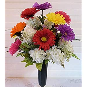Daisy Cemetery Vase, Cemetery Flowers with Lilacs, Spring Cemetery Flowers