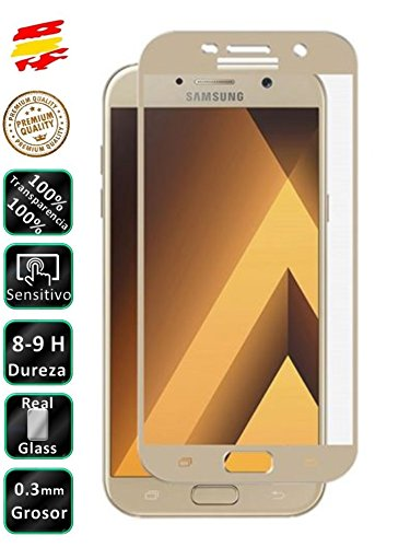 Movilrey Protector para Samsung Galaxy A3 2017 Dorado Completo 3D Cristal Templado...