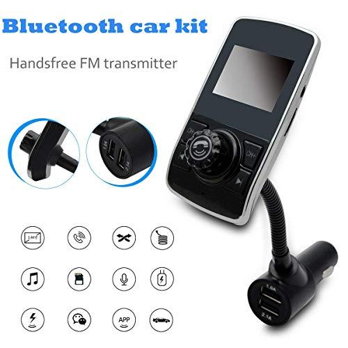 Riloer 12V 24V Bluetooth Transmisores FM Pantalla de Visualización de 1,44 Pulgadas Receptor de Radio 3.0 Kit de Coche Inalámbrico, Cargador de Coche, Cargador de Puerto USB Dual de 5V / 2.1A