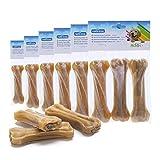 Nobleza - Hueso Prensado para Perros Fortalecedor de Dientes Stick Dental Dog Snack, Hueso de Nudillos de Cuero Crudo, Hueso para morder, 12.5cm,18 unidades