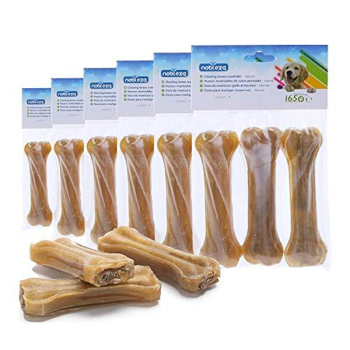 Nobleza - 18 Pezzi X 12.5 CM Osso Pressato per Cani Pelle Bovina Rinforzante per Denti Bastone Dentale Snack per Cani