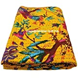 Queen/Twin/King Yellow Bird Home Decor Bed Bohemian Bird Queen Bedspread Handcrafted Handmade Quilt Kantha Bird Print Cover Unique Blanket Bedding Quilt (60X90 inch)