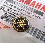 100% Original 12mm Diámetro Yamaha Diapasón Pegatina Emblema Logo Negro/Oro Elevado Cúpula Gel Resina Adhesiva Moto / Jet Ski / Atv / Nieve/Guitarra