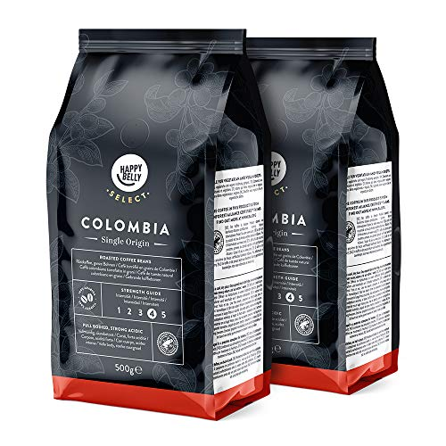 Marca Amazon - Happy Belly Select Café de Colombia en Grano - 1Kg (2 Paquetes x 500g)