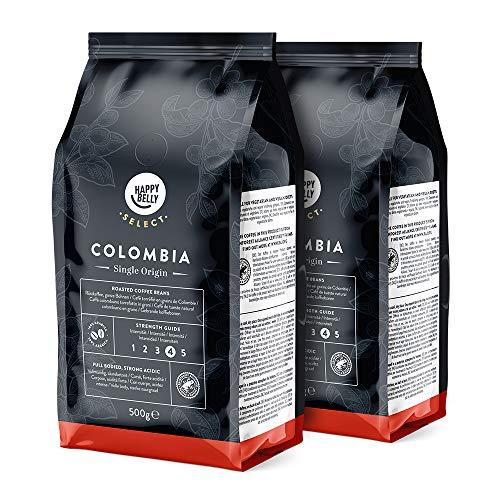Marca Amazon - Happy Belly Select Café de Colombia en grano, 2 x 500gr