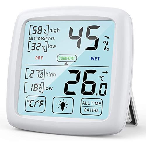 Temperatura/higrómetro digital profesional para interiores con pantalla táctil grande, indicador de confort, higrómetro para hogar/oficina/madre y habitación (blanco)