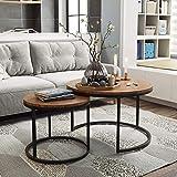 VSTAR66 Couchtisch Set 2 Stück Holz Metall Beistelltisch Rundes Set Tisch Hochwertiger Couchtisch Wohnzimmertisch Modern Industrieller Stil Beistelltisch Rundes Licht
