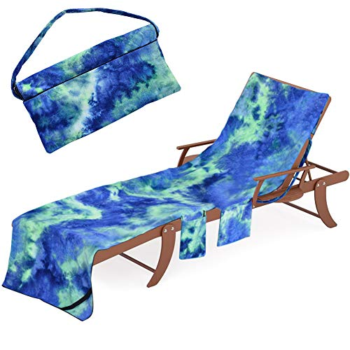 Beach Chair Lounge Towel Cover - Chaise Lounge Slipcover with Side-Pockets Soft Drys Fast, Microfiber Pool Towel Patio Accessories for Patio Lounger Sun Pool Sunbathing Beach Hotel (Tie-Dye Blue)