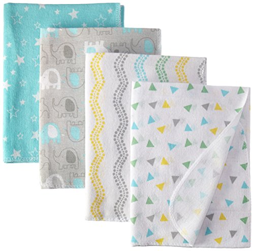 Luvable Friends Unisex Baby Cotton Flannel Receiving Blankets  Basic Elephant  One Size
