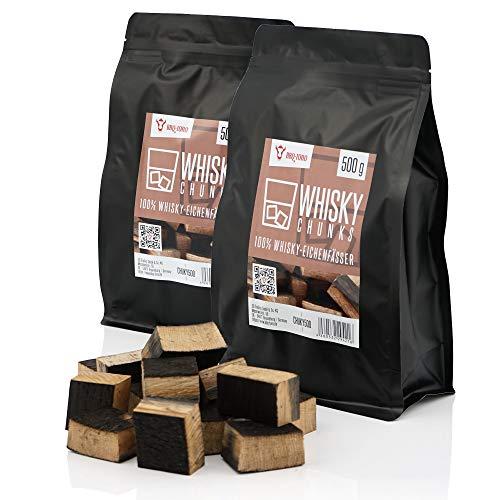 BBQ-Toro Whisky Chunks (1 kg) Räucherchunks | rauchintensive Holzchunks aus Eichenfässern | Räucherklötze für Gasgrill, Smoker, BBQ
