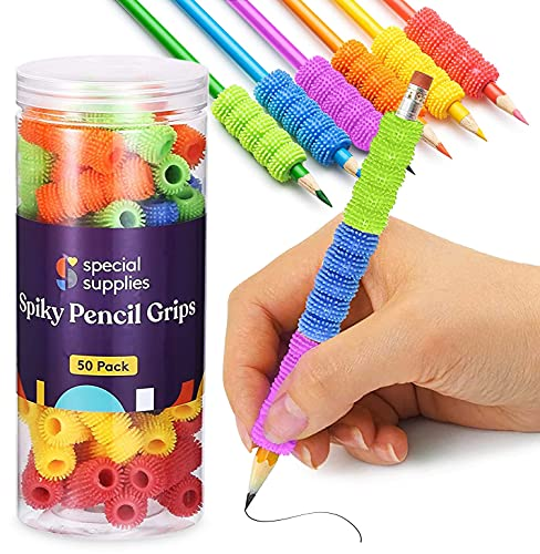 Special Supplies Spiky Pencil Grips for Kids and Adults Colorful Holders for Handwriting, Drawing, Coloring - Ergonomic Right or Left-Handed Use - Reusable (50-Pack)