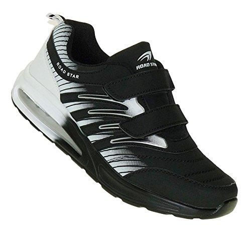 Bootsland 908 Black White Klett Turnschuhe Sneaker Sportschuhe Herren, Schuhgröße:43