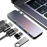 USB C ハブ USB Type C ハブ 5in1 変換 USB3.0 HUB PD急速充電 高速データ転送 4K HDMI出力 軽量 超スリム 持ち運び便利 防熱強化 多機能 USB タイプ C 変換アダプタ MacBook/MacBook Pro/ChromeBook対応 (グレー)