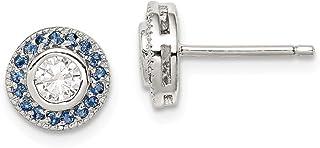 925 Sterling Silver Blue Glass Cubic Zirconia Cz Post Stud Earrings Ball Button Fine Jewelry For Women