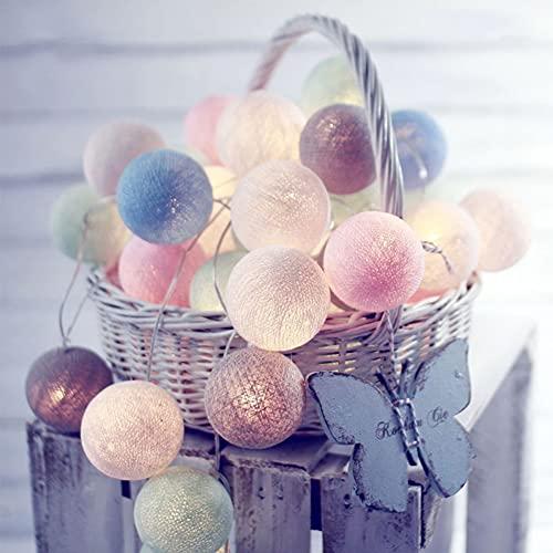 Bolas de algodón con luces de hadas de 2 m, 10 ledes, cadena de luces decorativas para dormitorio, boda, hogar, Navidad, Halloween, jardín (macarones)