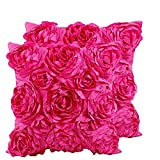 SeptCity Decorative Throw Pillow Covers for Couch Cushion Case, Romantic Love Satin Rose Wedding Party Home Decor, Home Gift (Set of 2) (Hot Pink)