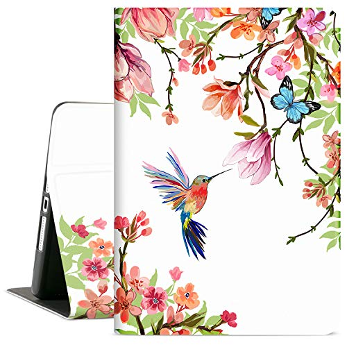 Cutebricase iPad 102 Case for iPad 8th Generation 2020 iPad 7th Generation Case 2019 102 iPad Cover for Women Girls MultiAngle Viewing Case Adjustable Stand Auto Wake / Sleep Flower Hummingbird