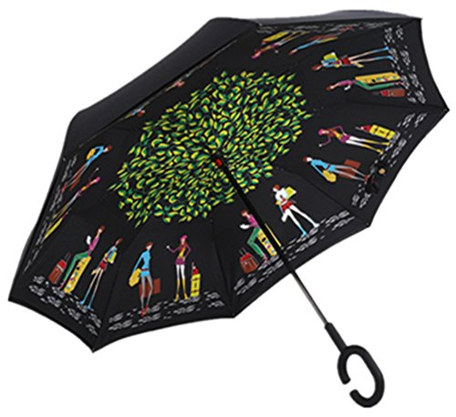 nadamuSun Reversion Regenschirm, Winddichtes Regenschirm umge Folding Double Layer Sunblock Umwelt Bumbershoot Double Layer Inside-Out Umgekehrte Umbrella