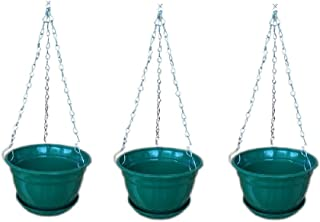 Hanging Planter with Metal Chain and Base Plate 8inch (Green, 3 Qty) - Minerva Naturals