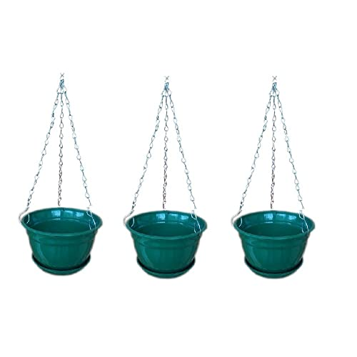 Minerva Naturals Hanging Planter With Metal Chain And Base Plate (Green, 3 Qty)